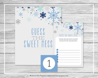 Winter Baby Shower Guess The Mess Game - Printable Baby Shower Guess Sweet Mess Game - Baby It's Cold Outside Baby Shower - SP144