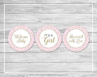 Pink and Gold Baby Shower Cupcake Toppers - Printable Baby Shower Cupcake Toppers - Pink and Gold Baby Shower - Cupcake Toppers - SP145