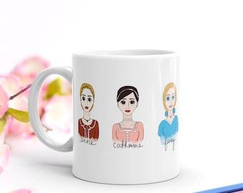 Jane Austen Mug, Jane Austen Heroines Ceramic Mug, Literary Gift, Bookworm for Her, Pride and Prejudice, Bookish, Book Lover Gift