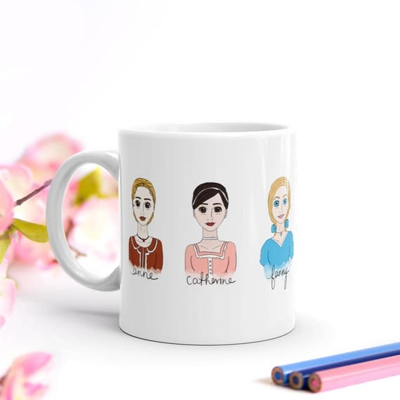 Jane Austen Mug, Jane Austen Heroines Ceramic Mug, Literary Gift, Bookworm for Her, Pride and Prejudice, Bookish, Book Lover Gift