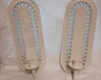 Vintage Burwood White Wicker Sconces
