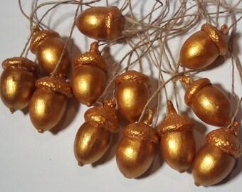 Golden acorns set of 15. Acorn ornaments. Home decor.