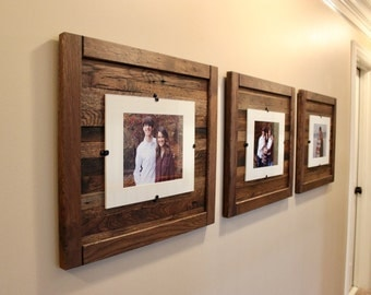 Set of 3 Rustic Wood Frames,  Reclaimed Wood Frame, 8 x 10 Picture Frame with Mat, 11 x 14 picture frame without mat, Free Shipping!