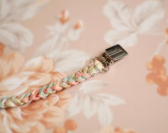 braided, Shabby Chic, baby girl pacifier clip