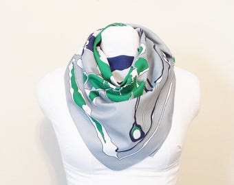 Vintage 1970s Patricia Dumont blue green grey scarf shawl with floral