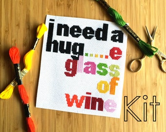 Funny Cross Stitch kit, Hug Hug, Embroidery Kit