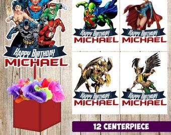 12 Justice League  centerpieces, Justice League  printable centerpieces, Justice League  party supplies, Justice League  birthday