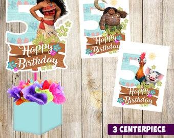 3 Moana centerpieces, Moana printable centerpieces, Moana 5th, Moana party supplies, Moana birthday, Favors, decorations, Moana printable