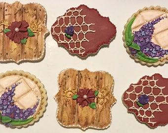 Rustic cookies, country cookies, wedding cookies