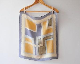 Vintage Silk Shawl, Pure Silk Shawl, Yellow and Gray Geometric Shawl, Mustard Shawl