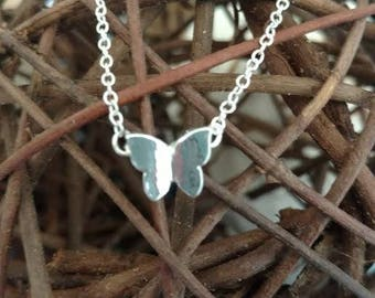 Silver Butterfly Charm Necklace Animal Minimalist Fashion Jewelry