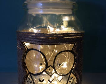 Handpainted owl jar with battery powered fairy lights