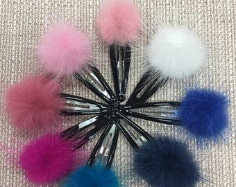 Adorable Mink fur pom pom hair clips