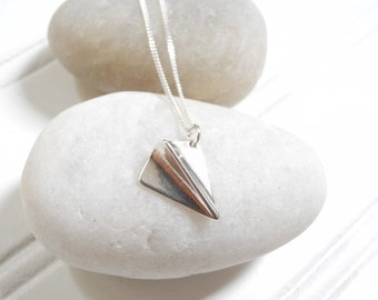 Sterling Silver Paper Airplane Necklace, Silver Airplane Charm Necklace