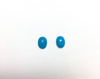 2 pcs. 8mm Genuine Oval Turquoise Cabochon