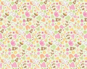 "Riley Blake Sweet Baby Girl Bunny C4291 100% cotton 43"" wide fabric (H105)"