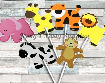 Set of 6 Girl Safari Animal Diaper Cake Toppers, Jungle Animal Centerpieces, Safari Animal Nursery Decor, Safari Baby Shower