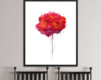 Carnation Watercolor Art Print Red Watercolor Art Print  Flower Wall Art, Watercolor Wall Decor, Painting Red - 58