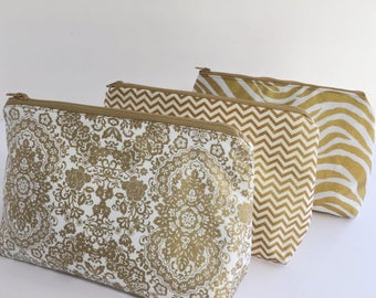gold cosmetic bag cosmetic bag set makeup bag toiletry bag gold pouch - Wedding Gift Ideas