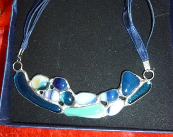 Stained glass Necklase.Pendant.