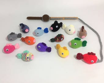 Crochet magnetic Fishing game set of 14 fish and pole