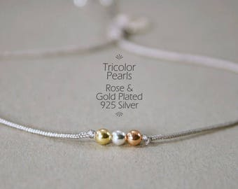 3 wishes - bracelet / TRICOLOR 925 Silver real gold plating, gold, rose gold, silver, friendship band, thin bracelet, request - jewelry