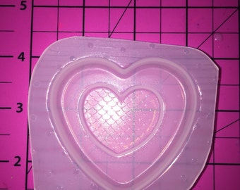 Layered Mermaid Heart - Flexible Plastic Resin Mold