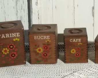 Series french vintage wood canisters