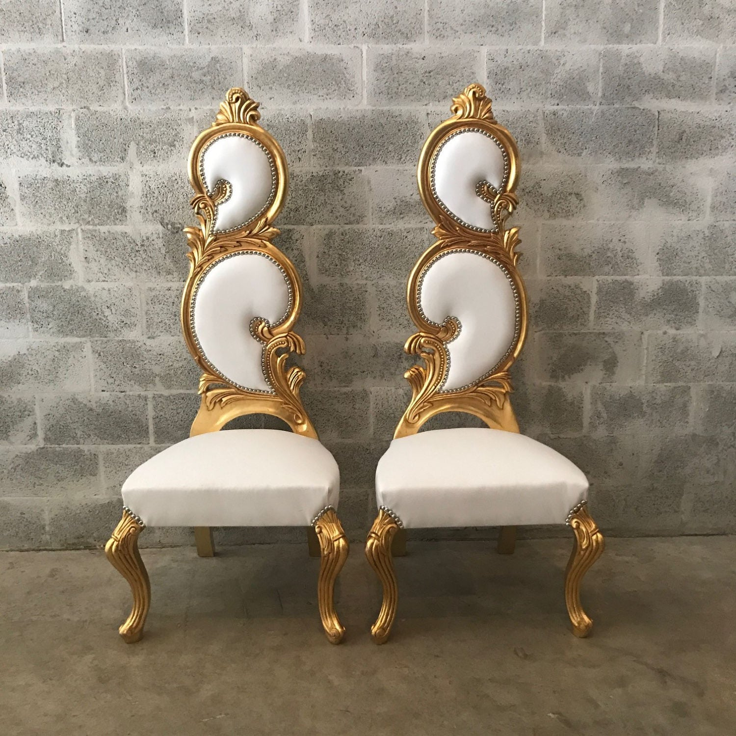 Italian Baroque Throne Chair High Back Reproduction White