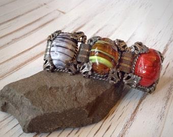 Vintage 6 Panel Bracelet with Multi Colored Glass Cabochons // 1950's Book Chain Bracelet // Chunky Vintage Bracelet