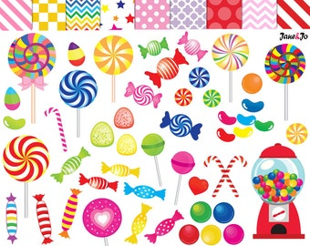 52 Candy clipart,candy clip art,printable,lollipop clipart,rainbow candy,candy graphics,gumball machine clipart,sweet sugar clipart,lollipop