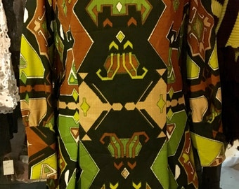 1960' MOD geometric print tunic, mini dress. Size L.