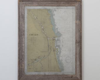 Chicago Map: Vintage Nautical Map of Chicago and Lake Michigan - Circa 20th Century - Weathered Map