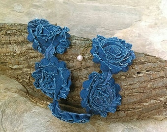 Blue Jean Denim Flower Chokers