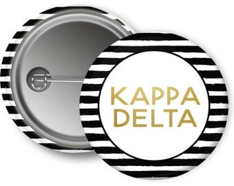 KD Kappa Delta Faux Gold Foil Striped Sorority Pinback Button