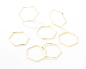 20MM Hexagon Pendant (Large) .  Hexagon Bead . Hexagon Charm . 16K Polished Gold Plated over Brass - 4pcs / BS0006-PG