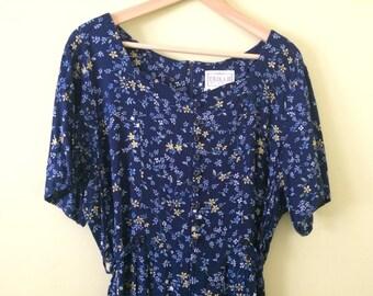 Vintage Floral Dress size Large | 90s Button Down Dress Navy, Light Blue, Yellow Flowers size 8/10 | Short Sleeve Long Dress Zippered Back