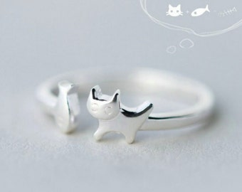 Cute 925 Sterling Silver Kitty Cat Chasing Fish Adjustable Band Ring