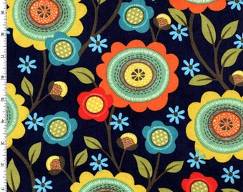 ON SALE!! Stitch Floral in Corduroy Fabric - Navy - by Michael Miller Fabrics