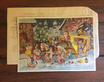 Paper Advent Calendar / Vintage Christmas / With Original Envelope / Made by Kruger / Printed in Western Germany / 1950's