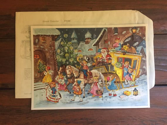 Paper Advent Calendar / Vintage Christmas / With Original Envelope / Made by Kruger / Printed in Western Germany / 1950's