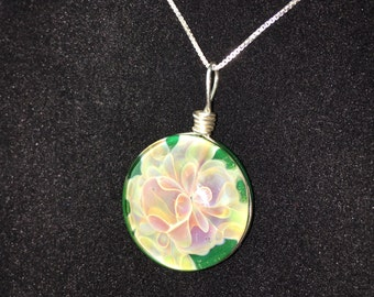 Green Glass Wire Wrapped Floral Pendant