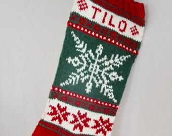 Winter Wonderland Christmas Stocking, Hand knitted Personalized Christmas Stocking, Nordic Fair Isle Christmas Stocking, Snowflake pattern