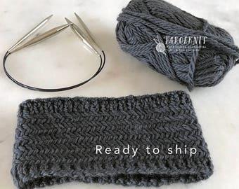 Herringbone Headband, hand knit headband, steel blue headband for women, wool mohair blend, Nordic Viking Headband, women's knit headband