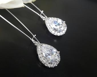 Crystal Pendant Earrings, Long Teardrop Earrings, Bridesmaid Earrings, Silver Long Earrings, Long Dangle Earrings Crystal, Dainty Earrings