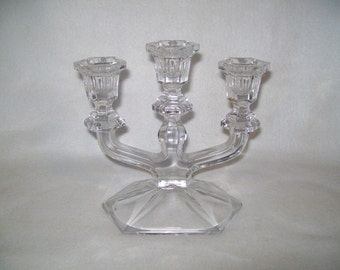 Triple candle holder Glass Candelabra like new very pretty.