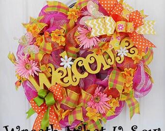 Wreaths for Spring, Summer Wreath, Front Door Wreath, Floral Wreath, Deco Mesh Wreath, Summer Door Wreath, Front Door Decor, Welcome