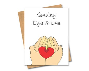 Well Wishes Card - Sending Light and Love - Thinking of you