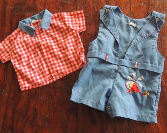 Vintage 2 pc Romper~0-6 mo~Boys~Helicopter Applique~Red Gingham Shirt~Adorable!