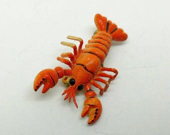 Vintage Small Red Lobster Pin